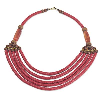 Artisan Red Bead Necklace with Sese Wood Agate and Leather