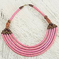 Beaded necklace, 'Wend Panga in Pink' - Artisan Pink Bead Necklace with Sese Wood Agate and Leather