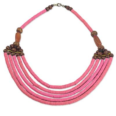 Artisan Pink Bead Necklace with Sese Wood Agate and Leather