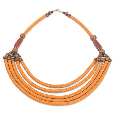 Artisan Made Agate and Wood African Orange Beaded Necklace