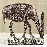 Wood statuette, 'Brown Antelope' - Dark Brown Wooden Grazing Antelope Statuette