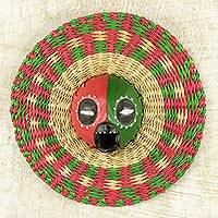 African wood and raffia mask, 'Ijeoma' - Hand Made African Mask with Wood and Raffia Accents
