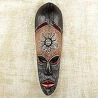 African wood mask, 'Osumboa Hene' - Hand-Painted African Wood Mask with Aluminum Details