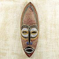 African wood mask, 'Adamma' - Original Hand-Carved and Painted Igbo African Wood Mask