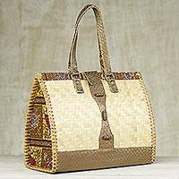 Leather accented rattan and cotton handbag,