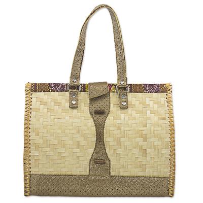 Rattan, Leather, Cotton Handbag Handmade in Ghana