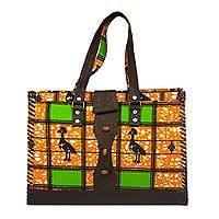 Cotton and leather accent handbag, 'Amorkor' - Leather and Cotton Leaf Print Handbag Handmade in Ghana
