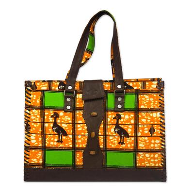 Leather and Cotton Leaf Print Handbag Handmade in Ghana
