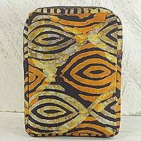 Batik cotton tablet sleeve, 'Saffron Eyes' - Batik Printed Cotton 10 In Tablet Sleeve in Saffron Espresso