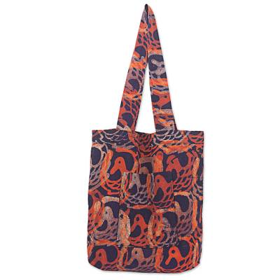 Batik Cotton Tote Bag in Flame and Indigo from Ghana