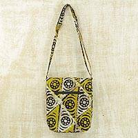 Batik cotton sling handbag, 'Triangle Happiness' (10 inch) - Batik Cotton Sling Handbag in Gold and Alabaster from Ghana