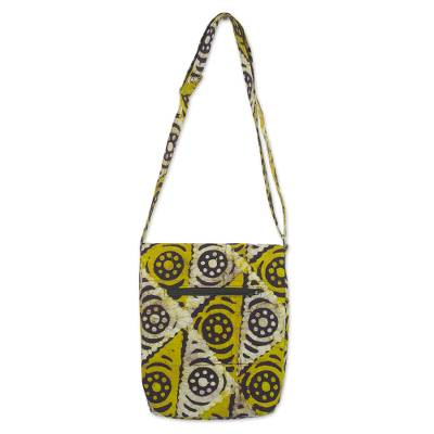 Batik Cotton Sling Handbag in Gold and Alabaster from Ghana