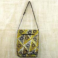 Batik cotton sling handbag, 'Triangle Happiness' (15 inch) - Gold and Alabaster Batik on Cotton Sling Handbag from Ghana