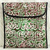 Cotton batik iPad case, 'Akoma Green Heart' - Heart Pattern Green Cotton iPad Case by Ghana Artisan