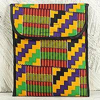 Kente iPad case, 'Upbeat' - Beautifully Patterned Kente iPad Case with Foam Padding