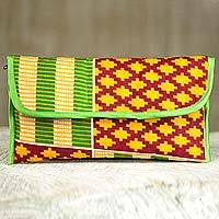 Cotton clutch handbag, 'Kente Joy' - 100% Cotton Multicolor Printed Clutch Handbag from Ghana