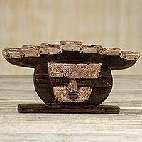 Wood candelabra 'Stoic Face' - Hand Made Wood Candleholder Face from Ghana