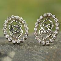 Sterling silver button earrings, 'The Weight of the Earth' - Cubic Zirconia and Sterling Silver Button Earring from Ghana