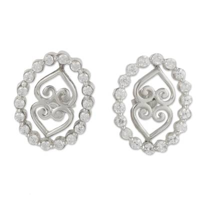 Cubic Zirconia and Sterling Silver Button Earring from Ghana