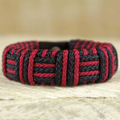 Cord bracelet, 'Red and Black Kente Power' - Red and Black Cord Striped Bracelet Handmade in Ghana