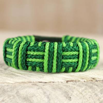 Cord bracelet, 'Bright Green Kente Power' - Green Cord Striped Bracelet Handmade in Ghana