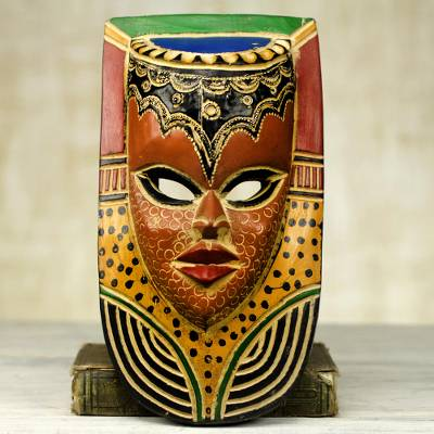 African wood mask, 'Queen on the Wall' - Hand Carved Sese Wood Mask Decorated With Paint and Aluminum