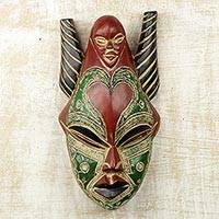 African wood mask, 'Strong Dejen' - African Sese Wood and Aluminum Multicolored Mask from Ghana