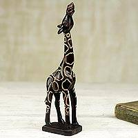 Wood sculpture, 'Giraffe I' - Brown Wood Giraffe Decor Sculpture Handcarved in Ghana