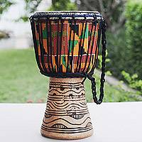 Wood djembe drum, 'Ahoto' - Handmade Ghanaian Multicolor Tweneboa Wood Djembe Drum