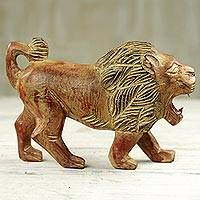 Wood sculpture, 'Gyata' - Artisan Carved Sese Wood Lion Sculpture with Rustic Finish