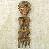 African wood wall sculpture, 'Warrior Mother' - African Hand Crafted Wood Yaa Asantewaa Wall Sculpture