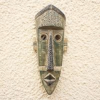 African wood mask, 'Green Giant' - Original Green West African Hand-Carved Sese Wood Wall Mask