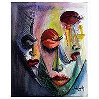 'Africa Personality' - Original Watercolor Cubist Painting from Ghana