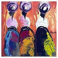 'Prayer Warriors' - Abstract Watercolor Painting of People from Ghana
