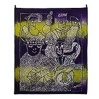 Batik cotton wall art, 'Blind Beggars' - Hand Made Batik Cotton Wall Art from Ghana