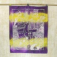 Batik cotton wall hanging, 'Ghanaian Masquerade' - Purple and Yellow Batik Cotton Wall Hanging from Ghana