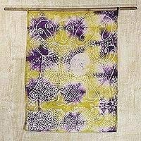 Batik cotton wall hanging, 'The Rich' - Hand Made Cotton Batik Wall Hanging People from Ghana