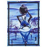 'Duty of a Woman III' - Mother and Child Ghanaian Traditions Signed Painting