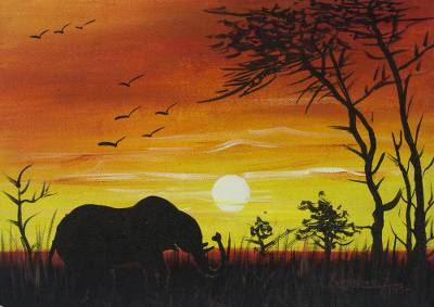 Elephant At Sunset Signed African Landscape Painting