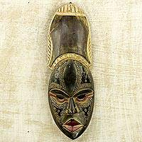 African wood mask, 'Antiqued Obrepon' - Hand Carved African Wood Mask with Aluminum Accent
