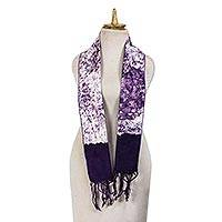 Cotton batik scarf, 'Midnight Stroll' - Artisan Crafted Batik Cotton Scarf in Dark Amethyst Purple
