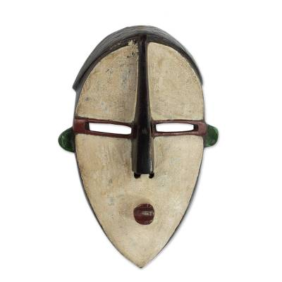 African wood mask, 'Beige Dan Face' - Hand Carved Wood African Mask in Beige from Ghana