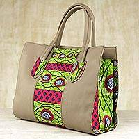Cotton shoulder bag, 'Adrinkra Eyes' - Cotton Shoulder Bag with Adinkra Motifs from Ghana