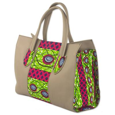 Cotton Shoulder Bag with Adinkra Motifs from Ghana