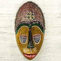 African wood mask, 'Unity Mask' - Artisan Crafted African Sese Wood Wall Mask from Ghana