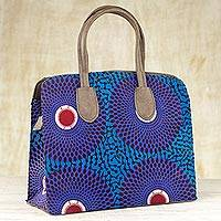 Cotton handbag, 'Royal Violet' - West Africa Patterned Cotton Handbag by Ghana Artisan