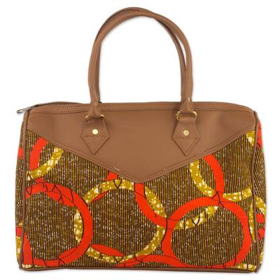 Cotton Handle Handbag with Chain Motifs from Ghana