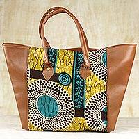 Cotton tote handbag, 'African Shopper' - Artisan Crafted 100% Cotton Handbag with Faux Leather Accent