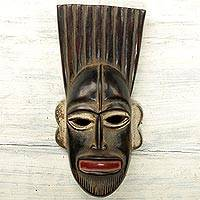 African wood mask, 'Creator Chinekwe' - Hand Carved Wood African Mask Distressed from Ghana
