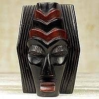 African wood mask, 'Anibre Nso Gya' - Hand Carved African Wood Mask in Black and Brown